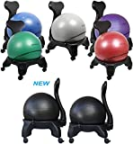 """Isokinetics Inc. Balance Exercise Ball Chair - Standard or """"Tall Boy"""" (Exclusive) Frame Height - Choice of Ball Color - Office size 60mm/2.5"""" Wheels - Adult Size"""