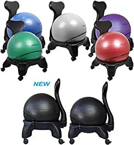 "Isokinetics Inc. Balance Exercise Ball Chair - Black 52cm Ball - Standard Height Frame - Office size 60mm/2.5"" wheels - Adult Size"
