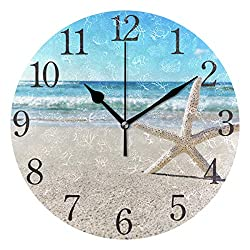 SUABO Wall Clock Arabic Numerals Design Starfish On The Beach Round Wall Clock for Living Room Bathroom Home Decorative