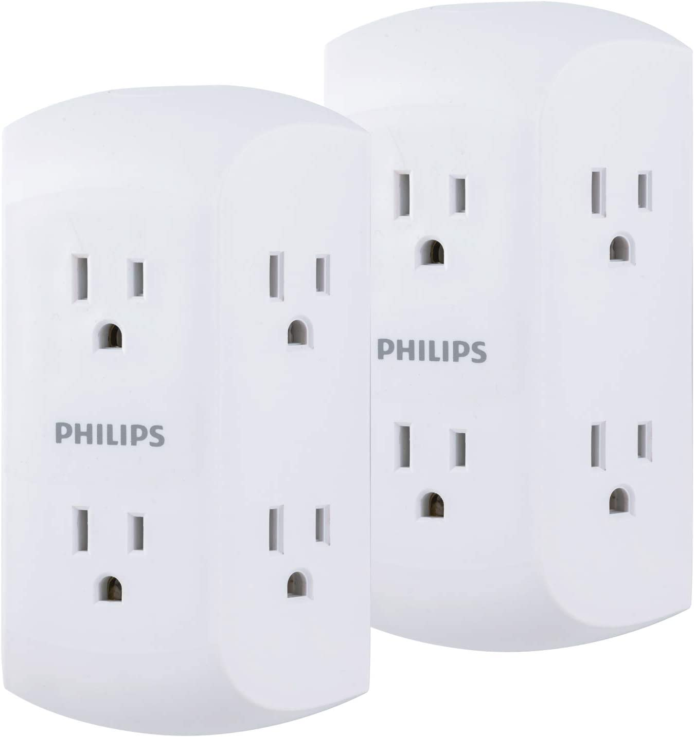 Philips 6-Outlet Wall Plug Power Strip, 2 Pack, Extra Wide Adapter Spaced, 3 Prong, SPS1742WA/37, White