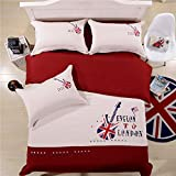 Lt Twin Full Queen Size Cotton Guitar Beige and Coffee Union Jack Bedding Sets Duvet Cover Sets (Twin, 4pcs Without Comforter)