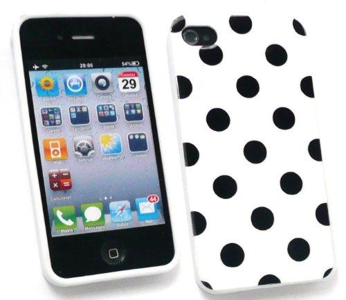 Emartbuy Apple Iphone 4 4G Hd Polka Dots Gel Skin Cover / Case Weiss