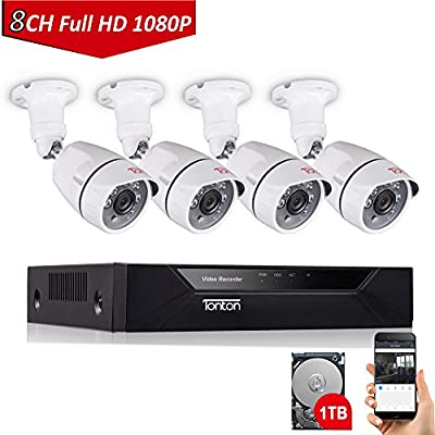 Tonton 8CH Full HD 1080P Security Camera System, Surveillance DVR with 1TB Hard Drive and (6) 2.0MP 1920TVL Waterproof Outdoor Indoor CCTV Bullet Camera with Face Notification and Clear Night Vision from Tonton security