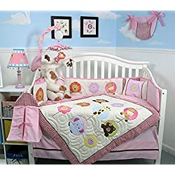 SOHO Pink Safari Monkey Jungle Nursery Bedding Set 13 pcs including Diaper Bag for girls