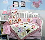 SOHO Pink Safari Jungle Nursery Bedding Set 13 pcs including Diaper Bag PLUS EXTRA PINK JUNGLE FLEECE BLANKET FOR LIMITED TIME ONLY.