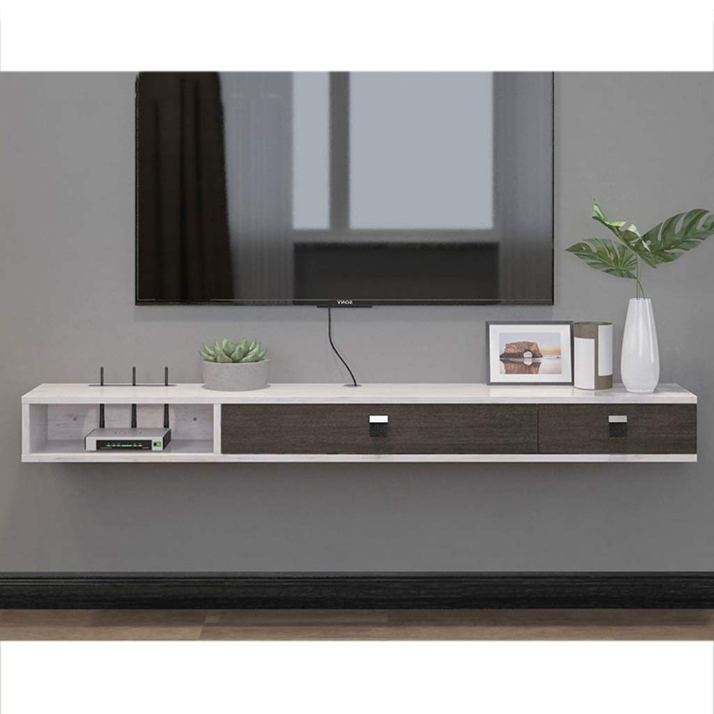 Floating Shelf Wall Mounted TV Stand Shelf Rack Cabinet Media Entertainment Console Gaming Shelving Unit with 3 Drawers Home Furniture (Color : Gray+White, Size : 140cm) by SjYsXm-Floating shelf