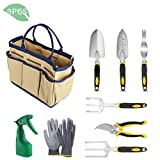 YISSVIC Garden Tools Set, 9 Piece Heavy Duty Gardening kit Cast-Aluminum with Soft Rubberized Non-Slip Handle -Durable Storage Tote Bag and Pruning Shears - Garden Gifts for Men Women