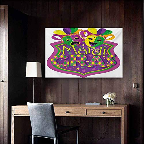 (duommhome Mardi Gras Modern Frameless Painting Comedy and Tragedy Masks with Festive Mardi Gras Carnival Blazon Design Bedroom Bedside Painting 47