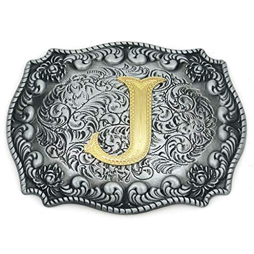 Upgrade Western Belt Buckle Initial Letter ABCDEFG to Y- Cowboy Rodeo Large Gold Silver Metal Buckles for Men Women (Initial Letter ()