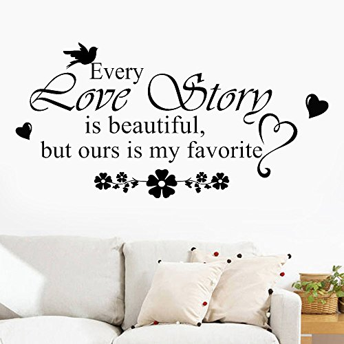FimKaul Love Story - Inspirational Family Words Quote Family Wall Sticker Wall Decal Family Room Art Decoration (Black) ()