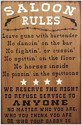 Adonis554Dan Saloon Rules Western Primitive Rustic Distressed Country Wood Sign Home -