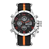 Tamlee Fashion Outdoor Sport Digital Military Waterproof Nylon Strap LED Wrist Watches for Men (Silver)