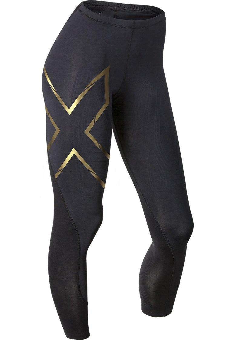 2XU Women's Elite MCS Compression Tights, Black/Gold, Small