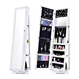 NEX Rotatable Jewelry Cabinet with Full-Length Mirror, White