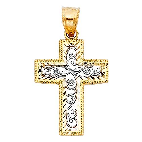 TWJC 14k Two Tone Gold Religious Gold Religious Cross Charm Pendant