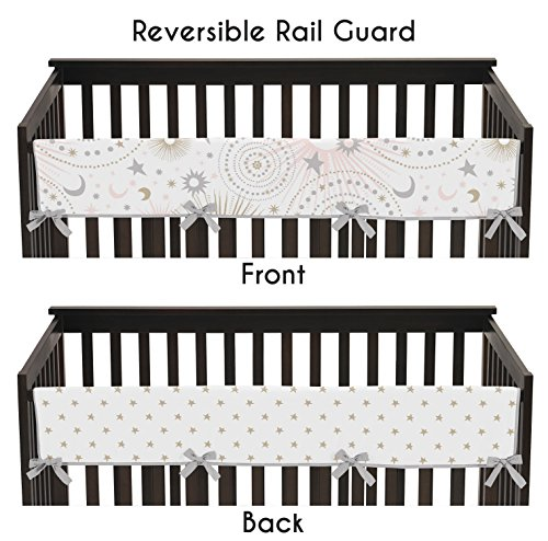 Sweet Jojo Designs Blush Pink, Gold, Grey and White Star and Moon Long Front Crib Rail Guard Baby Teething Cover Protector Wrap for Celestial Collection