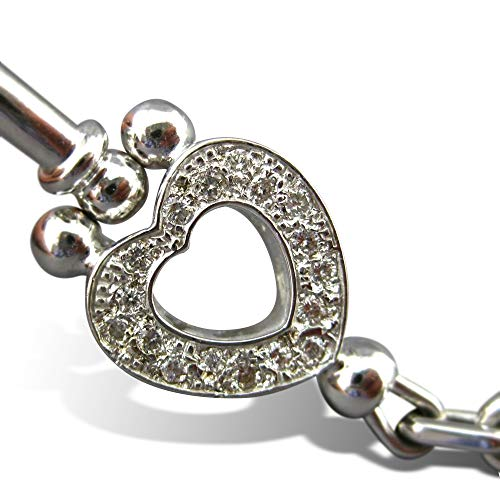 Milano Jewelers .37CT DIAMOND 14KT WHITE GOLD 3D FILIGREE HEART BANGLE BRACELET #21041
