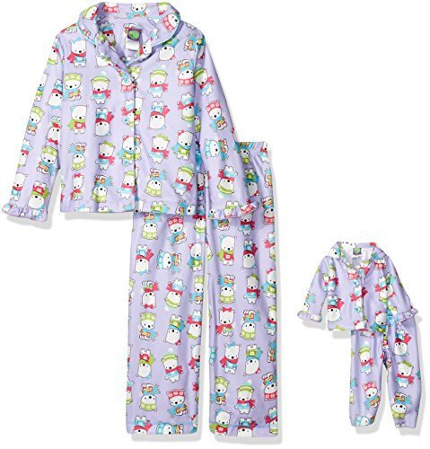 Dollie & Me Big Girls' Polar Bear Sleepwear Set, Lilac, 12 ()