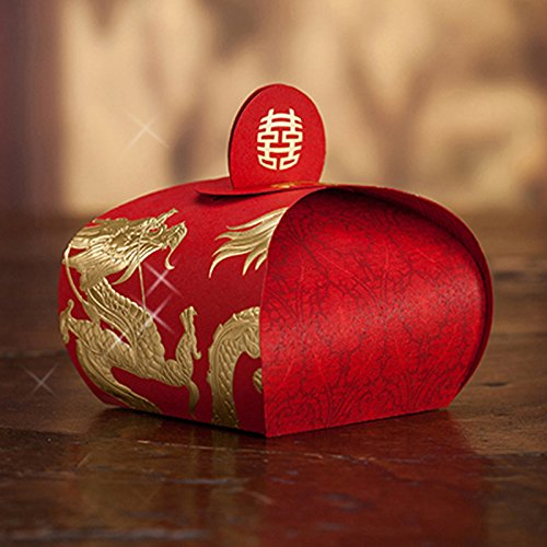 dngcity Dragon and Phoenix Pattern Wedding Favor Candy Box Chinese Character -100pieces