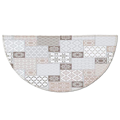 Patchwork Mat Pastel - Half Round Door Mat Entrance Rug Floor Mats,Arabian Decor,Oriental Motif Pastel Patchwork Pattern with Filigree Ornaments Illustration Art,White Beige Grey,Garage Entry Carpet Decor for House Patio Gr