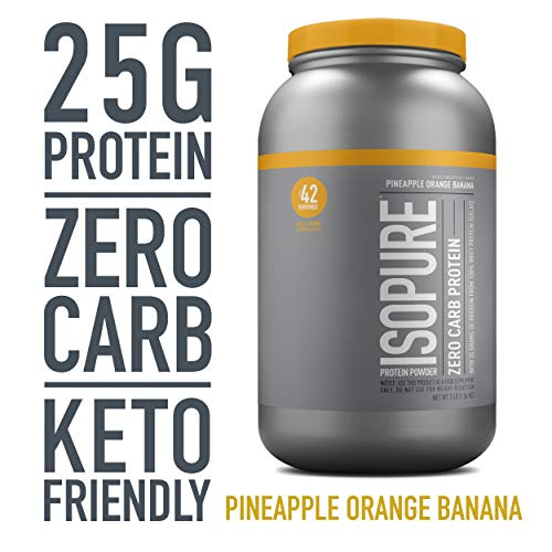Isopure Zero Carb, Keto Friendly Protein Powder, 100% Whey Protein Isolate, Flavor: Pineapple Orange Banana, 3 Pounds (Packaging May Vary)