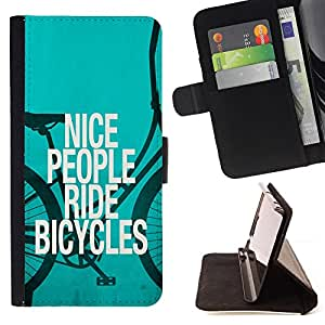 For Lumia 530 Nice People Ride Bicycles Quote Eco Green Lifestyle Style PU Leather Case Wallet Flip Stand Flap Closure Cover