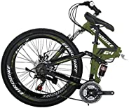 Folding Bike G4 21 Speed Mountain Bike 26 Inches 36 Spoke Wheels Dual Suspension Bicycle (36-ArmyGreen)