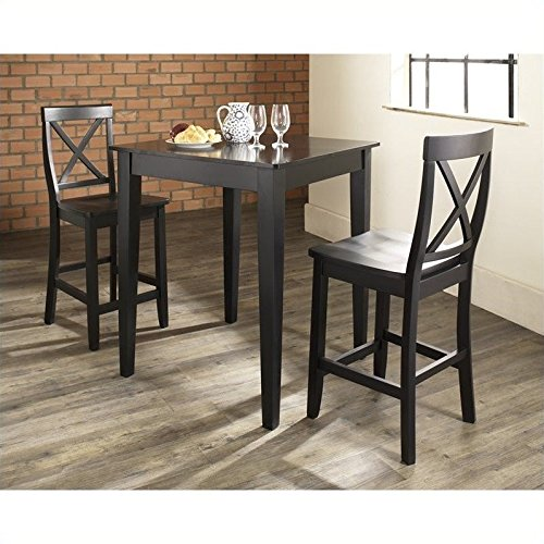 Crosley 3-Piece Pub Dining Set with Tapered Leg and X-Back Stools, Black Finish