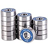 XiKe 16 Pac Skateboard Bearings 608-2RS 8x22x7mm, Double Seal and No Grease.