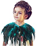 L'vow Fashion Kids Feather Capes Stole Shawl Iridescent for Game Party Hallowmas (Acid Blue)