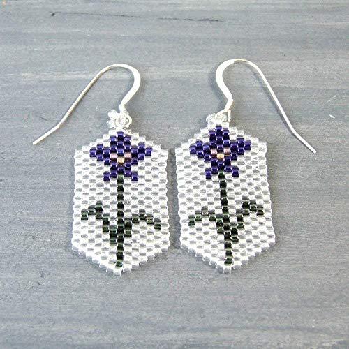 - Purple Iris Seed Bead Floral Flower Beaded Dangle Drop Unique Glass Earrings - Handmade Sterling Silver Statement Jewelry for Women