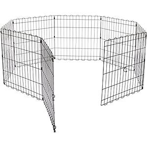 AmazonBasics – Parque de juegos y ejercicios para mascotas, paneles de valla metálica, plegable, 152,4 x 152,4 x 60,9 cm