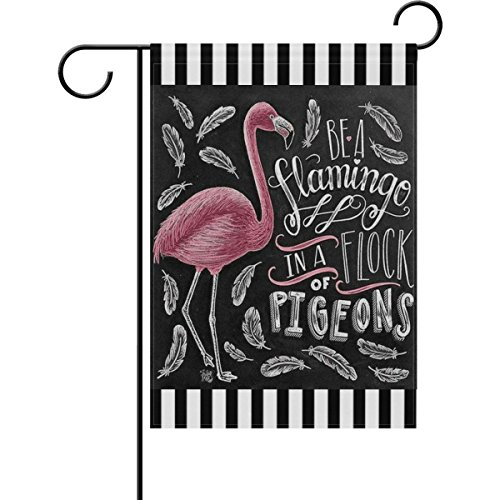 ALAZA Spring Summer Bird Flamingos Garden Flag, Double-sided