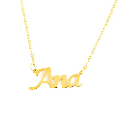 Kigu Ana Collar con Nombre - Chapado en Oro Personalizado de 18 ...