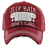 H-212-JHDC64 Distressed Baseball Cap Vintage Dad Hat - Jeep Hair Don't Care (Burgundy)