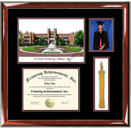 amazoncom florida state university fsu lithograph diploma frame with graduation tassel box and 4 x 6 photo window premium wood glossy prestige mahogany