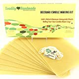 """Make Your Own Beeswax Candle Kit - Includes 10 Full Size 100% Beeswax Honeycomb Sheets in NATURAL and Approx. 6 Yards (18 Feet) of Cotton Wick. Each Beeswax Sheet Measures Approx. 8"""" x 16 1/4""""."""