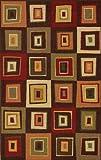 Modern Oriental Brown Geometric Square Carpet 3 Piece Area Rug Set Combo (Es12