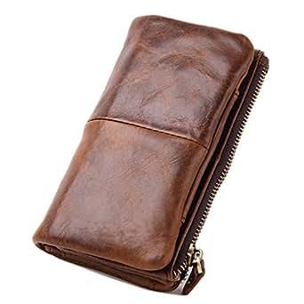 Le'aokuu Mens Genuine Leather Vintage Wallet Organizer Checkbook Card Case (Brown)