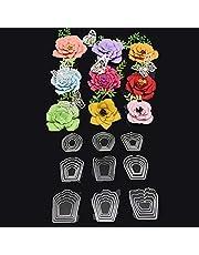 Serie de Troqueles de Corte en Relieve con Patrones de Flores para DIY Creación de Tarjetas
