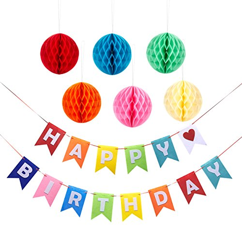 Birthday Party Decorations - Happy Birthday Banner Flags with 6-Piece Honeycomb Balls Tissue Paper Pom Pom Decorations (V1 Red Flag)