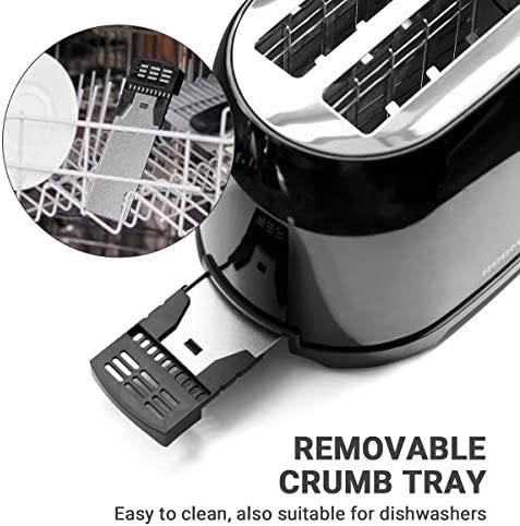 """REDMOND Retro Toaster 2 Slice Stainless Steel Compact Bagel Toaster with 1.5""""Extra Wide Slots, 7 Bread Shade Settings, Removable Crumb Tray for Breakfast, 800W (Onxy Black)"""