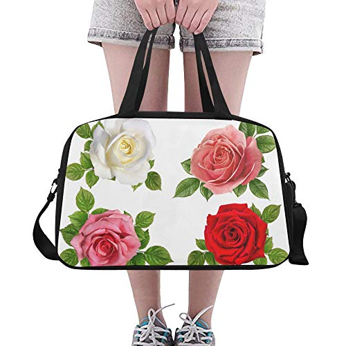 Set Red Pink Glorious Romantic Rose Custom Large Yoga Gym Totes Fitness Handbags Travel Duffel Bags With Shoulder Strap Shoe Pouch For Exercise Sports Luggage For Girls Mens Womens ()