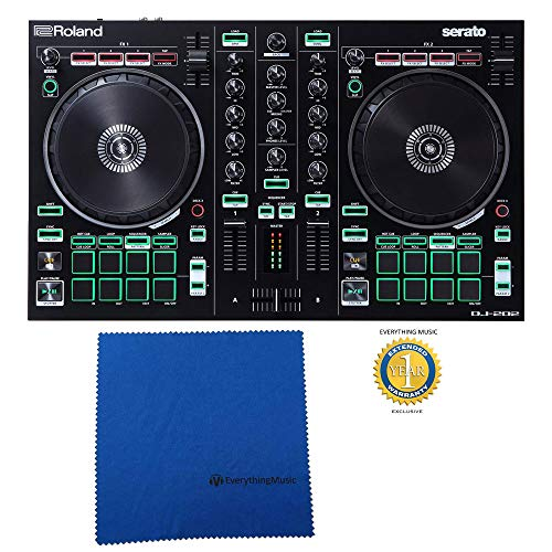 Roland DJ-202 2-channel 4-deck Serato Intro DJ Controller with Microfiber and Free EverythingMusic 1 Year Extended Warranty