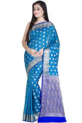 Chandrakala Womens Kataan Silk Blend Indian Ethnic Banarasi Saree with Unstitched Blousepiece(1234) Blue