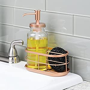 mDesign Soap Pump Caddy for Kitchen Sink or Countertop - Clear/Copper