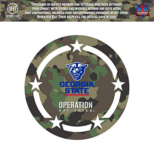 Victory Tailgate Georgia State University Panthers Operation Hat Trick OHT Coin Die Cut Vinyl Decal (6x6)