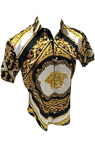 Men's Designer Fashion Dress Shirt Casual Shirt Woven Short Sleeve Button Down Shirt (XL, Black and Gold Medusa Head)