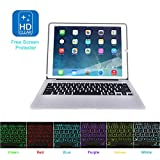 MOSTOP iPad Pro 12.9-inch Keyboard Bluetooth 7-color LED Backlit Slim Aluminum Wireless Keypad with Built-in 5600mAh Power Bank for iPad Pro 12.9'' (Silver)