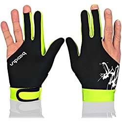 Anser M050912 Man Woman Elastic Lycra 3 Fingers Show Gloves for Billiard Shooters Carom Pool Snooker Cue Sport - Wear on the Right or Left Hand 1PCS (Light Green, L)